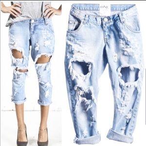 One Teaspoon Jeans Lonely Boys Distressed Raw Hem